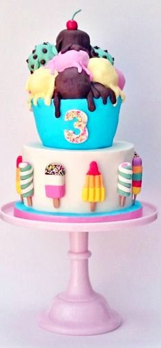 I love rocket lollies, twisters, fabs and i adore ice cream! My kind of cake!
