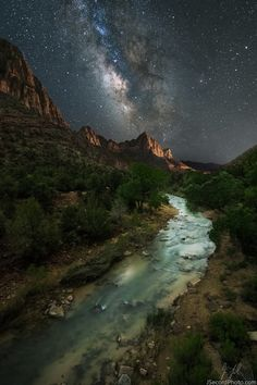"""""""The River Zion"""" - photo by Jon Secord.  The Milky Way shines above the Watchman and Virgin River at Zion NP this past April."""