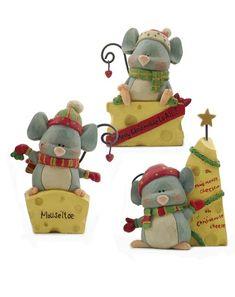 'Merry Christmas' Mice Figurine Set