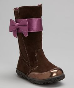 Look at this Laura Ashley Brown Bow Strap Boot on #zulily today!