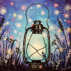 Summer Night Fireflies Lantern #acrylicpainting Tutorial on YouTube by Angela Anderson  #fredrixcanvas #princetonbrushes #art #painting #fireflies #lantern #nightsky