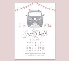 i love the love heart placement   Calendar Save the Date - VW Van, by FROM LUCY WITH LOVE http://www.etsy.com/listing/183545209/
