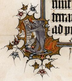 Detail of a marginal illumination of a bear-scribe writing on a scroll, from the Bohun Psalter and Hours, England, second half of the 14th century.