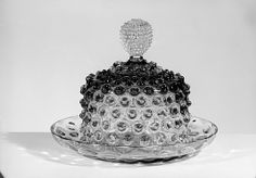 Hobnail Cheese Dish, 1886,  Probably Hobbs, Brockunier and Company - Pressed colorless and cranberry glass