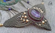 Amethyst macrame necklace handmade necklace by byLaughingBuddha