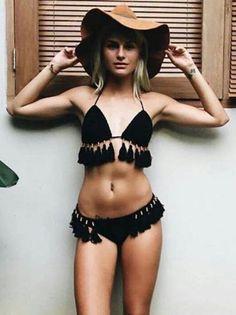 e4ace5e8c37c9 Sexy Halterneck Knitting Tassels Two-Pieces Bikini Swimwear – chicbohodress  Teen Fashion Tumblr