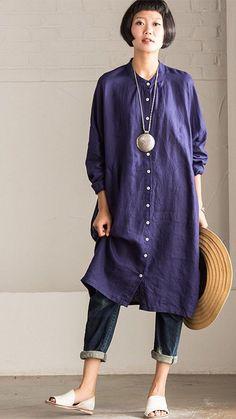 Art Casual Loose Big Size Long Linen Dress Shirt Women Tops C8923A https://www.fantasylinen.com/products/art-casual-loose-big-size-long-linen-dress-shirt-women-tops-c8923a