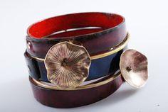 CABERNET  enameled bracelets  copper  gift  by OYRZANOWSKA on Etsy