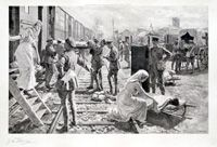 Taking The Wounded Aboard A British Ambulance Train (Limited Edition Print) (Signed)