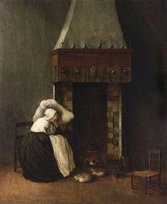 Sleeping Woman (The Convalescent), Jacobus Vrel. Dutch Baroque Era Painter, active ca.1654-1662,