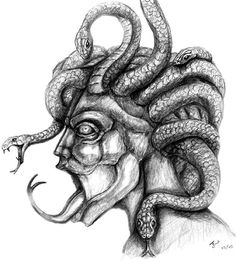 Gorgon, Greek mythology told of gorgon creatures that were terrifyingly scary female beings. Often described as three sisters who had snakes growing from their head and a horrifying gaze that turned those who beheld it to stone. Two of the sisters, Stheno and Euryale, were immortal but Medusa was not and wa