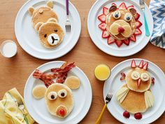 Kids Meals Invite some happy bears, bunnies and more furry (er, fruity?) friends to the table in the morning. - Turn pancakes into adorable animals with these creative ideas from Food Network. Food Art For Kids, Cooking With Kids, How To Make Breakfast, Breakfast For Kids, Indian Breakfast, Breakfast Snacks, Morning Breakfast, Breakfast Ideas, Breakfast Recipes