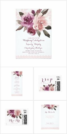 Watercolor Floral Lace Rustic fall Wedding. watercolor purple, peach and marsala roses floral design and blush pink vintage lace. Chic and elegant, great wedding invitations for vintage wedding, rustic wedding, country wedding and fall wedding. #Ad