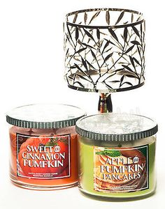 2 BATH AND BODY WORKS 14.5oz 3 WICK PUMPKIN CANDLES with PEDESTAL FREE SHIPPING