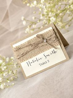 Love the extra detail and the font.Custom listing 10 Rustic Wedding Set Burlap by forlovepolkadots Grey Wedding Stationery, Wedding Stationary, Wedding Invitations, Wedding Sets, Wedding Table, Diy Wedding, Spring Wedding, Elegant Wedding, Lace Wedding