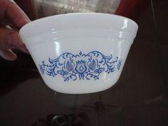 Vintage White Glass Blue Flower Design Soup Dish Federal