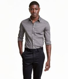 Black/chambray. Long-sleeved shirt with an easy-iron finish, a turn-down collar…