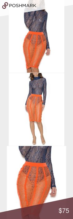 House of CB London Orange Lace Skirt House of CB London Orange Lace Skirt.  New with Tags.  Shown with blue Lace Body, also available in my closet. House of CB London Skirts Pencil