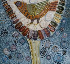 Tree Bird machine embroidery, silk, velvet, rayon thread by Nancy