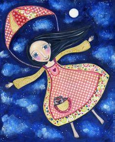 Whimsical Art Print Parachute Girl and Wombat by LindyLonghurst
