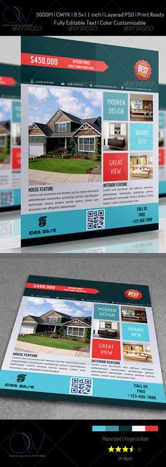 #Real #Estate Flyer Vol.2 - Commerce #Flyers Download here: https://graphicriver.net/item/real-estate-flyer-vol2/3590242?ref=alena994