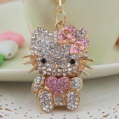 Heart New Hello Kitty Fashion Cat Swarovski Crystal Charm Pendant Key Bag Chain