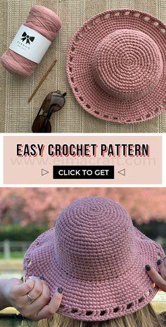 Crochet Hat With Brim, Crochet Summer Hats, Crochet Beanie, Crochet Sun Hats, Crotchet, Easy Crochet Patterns, Diy Crochet, Crochet Crafts, Knit Hat Patterns