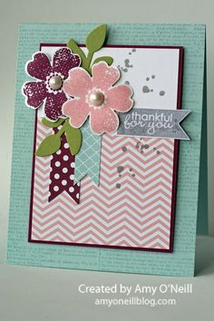 Stampin Up Flower Shop and Chevron background card by Amy o'Neill  Love the layout