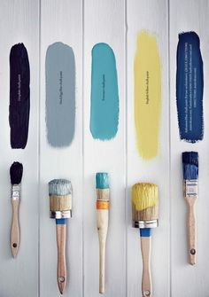 Objects of Desire: Chalk Paint® decorative paint by Annie Sloan Duck Egg Blue Colour Palette, Blue Color Schemes, Duck Egg Blue And Yellow, Jenga Wedding Guest Book, Martha Stewart, Duck Egg Blue Living Room, Yellow Chalk Paint, Country Living Magazine, Yellow Interior
