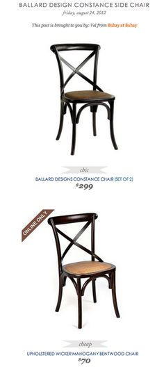 COPY CAT CHIC FIND: Ballard Design Constance Side Chair VS Upholstered Wicker Mahogany Brentwood Chair
