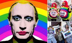 Humourless Putin BANS meme showing himself as a clown wearing makeup