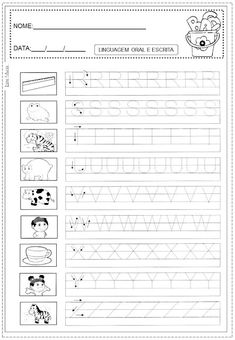 atividades sobre educação infantil e fundamental Alphabet Tracing Worksheets, Alphabet Activities, Kindergarten Worksheets, Toddler Activities, Learning Activities, Handwriting Practice, Homeschool, Teaching, 1