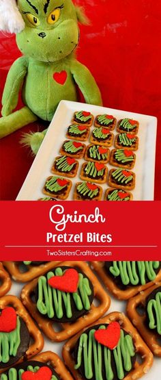 Grinch Pretzel Bites are delicious bites of sweet and salty goodness and a perfect Christmas Treat for a How the Grinch Stole Christmas family movie night. They'd also be a fun Christmas Dessert for this year's Christmas Party. Pin these easy to make Grin Best Christmas Desserts, Christmas Breakfast, Christmas Goodies, Christmas Treats, Christmas Baking, Holiday Treats, Christmas Classroom Treats, Holiday Fun, Holiday Recipes