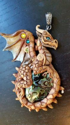 Golden Dragon with Abalone Shell by MakoslaCreations on Etsy
