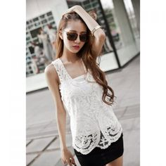 Hollow Out Solid Color Sweet Style Sleeveless Collarless Women's Tank Top