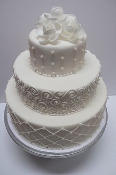 White on White Tiered Wedding Cake