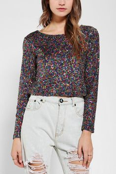 MINKPINK Glamour Glitter Cropped Top #urbanoutfitters