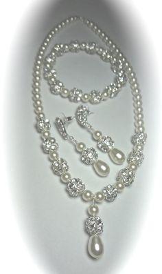 Brude Smykker / / Pearl sæt / / 3 delt sæt / / Stor krystal rhinsten ildkugler / / Perle armbånd-Øreringe - Halskæde - Brides Smykker set-...