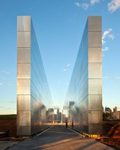 9/11 Memorial, Jersey City, New Jersey; Like how it evokes the towers and reflects the surrounding buildings.