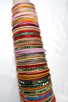 Indian- Middle Eastern- Bracelets -Large collection-Multi Colored Bangles - Belly Dance by Mevlevi on Etsy https://www.etsy.com/listing/199946790/indian-middle-eastern-bracelets-large