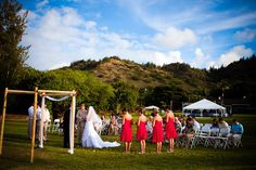 Laakea Beach Wedding - Hawaii Venues - Intimate outdoor garden wedding ceremony with mountain scenery