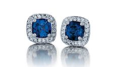 - 14K SAPPHIRE 2.35CTS AND DIAMOND .45CTS EARRINGS $2,450 (PRSPE03569)