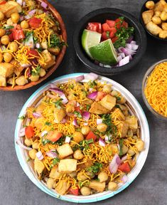 Aloo Chana Chaat or Potato Chickpea (Chole) Salad is a sweet, spicy and tangy all in one recipe that can be served as a starter or had as an evening snack. Aloo Recipes, Chickpea Recipes, Chickpea Salad, Vegetarian Recipes, Gluten Free Indian Food, Indian Food Recipes, Diwali Recipes, Chana Chaat Recipe, Masala Recipe