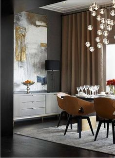 Latte and grey are elegant dinner guests in this chic and modern dining room. #CafeAuLait