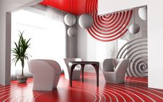 Modern homes deserve modern decorations - this white living room is styled with white and red spiral decors, spiral red floor and white balls for that chic living room design