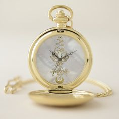 Shop Pastel Pearl Unalome Lotus Symbol Pocket Watch created by LoveMalinois. Personalized Pocket Watch, Unalome, Yoga Gifts, Make A Gift, Gold Glitter, Lotus, Quartz, Symbols, Watches