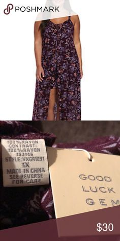 Romper W/ Maxi Skirt Overlay NWT - Beautiful floral patterned romper with maxi skirt for added flair. Looks great with ankle boots or sandals. Sleeveless with Lace up front bodice and zippered back. Good Luck Gem Dresses Maxi