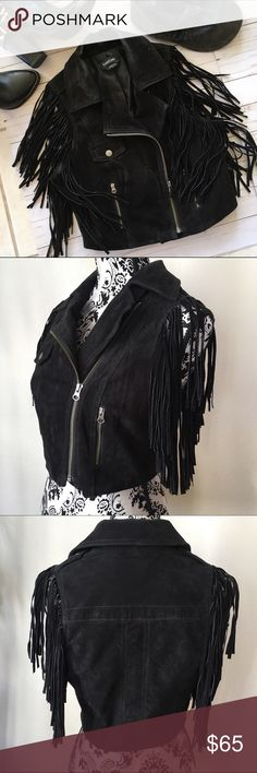 Suede fringed vest Bebe black Leather suede fringe vest. Gently loved, only worn a couple times. Hate to part with it but I just have too many clothes! bebe Jackets & Coats Vests