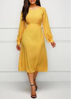 Long Sleeve Band Waist Yellow Dress on sale only US$32.06 now, buy cheap Long Sleeve Band Waist Yellow Dress at liligal.com