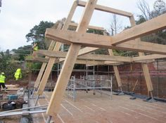 After two days on site. Show home oak frame going up. Roderick James Architects | Carpenter Oak